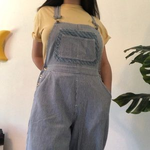 white and blue vintage overalls
